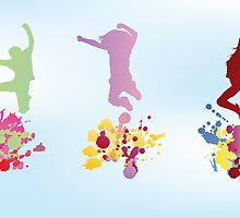 Colorful illustration of jumping kids and splashes by schtroumpf2510