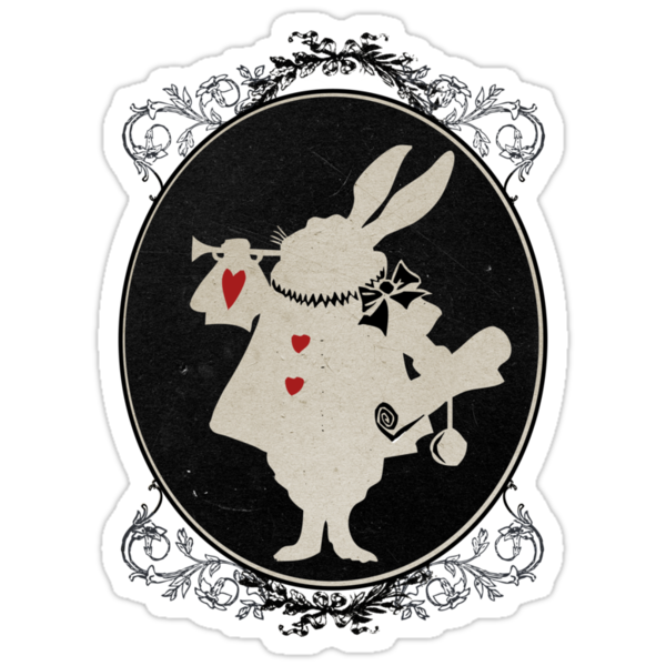 Alice in Wonderland White Rabbit Oval Portrait by curiousfashion