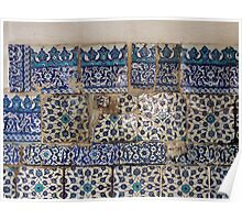 Ancient İznik tiles in the Çinili Camii (Tiled Mosque) Poster