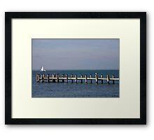 Old Pier, Pilings and Boardwalk Framed Print
