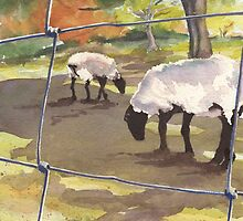 Autumn Graze (7th in sheep series) by Marsha Elliott