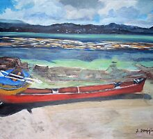 Canoe & Raft on Shell Island by Teresa Dominici