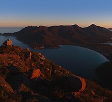 Evening Light at Wineglass Bay from Mount Amos by Mark Shean