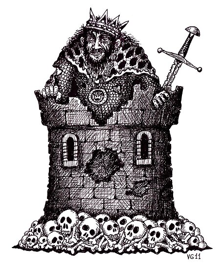 Lonely King surreal black and white pen ink drawing by Vitaliy Gonikman