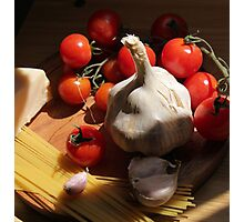 Pasta with Ingredients on the kitchens table Photographic Print