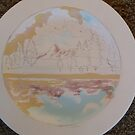 Tuolumne River (Charger Plate) Work in Progress #1 by Sally Sargent