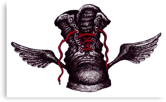 Flying Boot black and white pen ink drawing by Vitaliy Gonikman