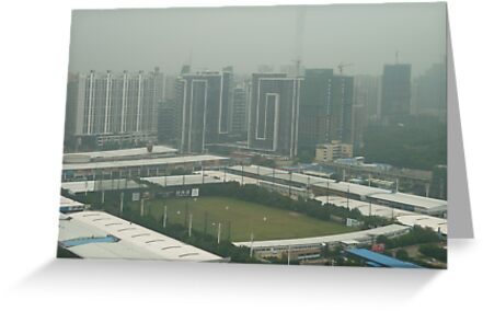 Soccer pitch surrounded by smog by Joseph Green