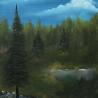 Pine trees oil painting landscape by eartsteam