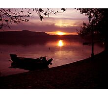 Boat into a pink atmosphiere Photographic Print