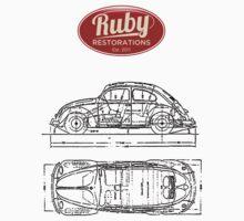 VW Beetle Tech Drawing Top by rubyrestoration