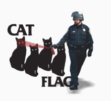 Pepper Spray Cop Cat Flag  by BUB THE ZOMBIE