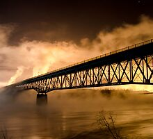 Peace River Bridge Night Shot by peaceofthenorth