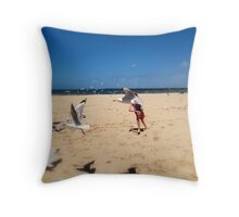 Chasing Gulls Throw Pillow