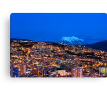 Panorama of La Paz of night, Bolivia Canvas Print