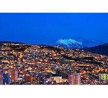 Panorama of La Paz of night, Bolivia Photographic Print