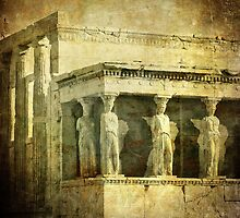 Vintage image of Caryatids, Acropolis, Athens, Greece by javarman