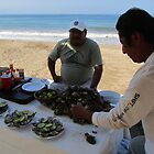 Selling fresh oysters at the beach - Vendiendo ostiones frescos en la playa, Puerto Vallarta, Mexico by PtoVallartaMex
