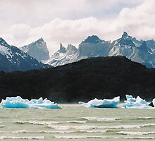 Chile, Torres Del Paine scenery, glacial ice floating, snow capped mountains in the background by bethischeery