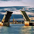 White nights in July, Saint Petersburg bridges, Russia by bethischeery
