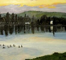 Geese on Joe's Pond, Vermont by P. Leslie Aldridge