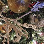Christmas Season Ornaments ~ Frosty Branches & Gold Baubles w/ Xmas Lights ~ Holiday Season Decorations  by Chantal PhotoPix