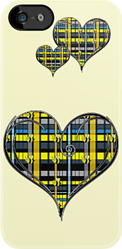 Adorable Bumble Bees on Yellow and Black Plaid in Heart by THarmonArt