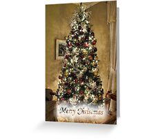 Golden Holiday Display ~ Decorative Christmas Tree w/ Shiny Ornaments & Xmas Lights in a Warm Atmosphere Greeting Card