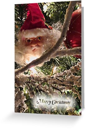Jolly Santa Claus Tree Ornament - Christmas Trimmings w/ Red Xmas Balls, Lights & Frosted Branch Garland  by Chantal PhotoPix
