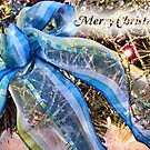 Christmas Holiday Gifts ~ Blue & Green Glitter Ribbon w/ Gold Mesh Garlands, White Feathers & Xmas Lights by Chantal PhotoPix
