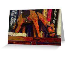A camel's journey across the bookshelf Greeting Card
