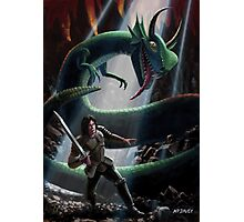 knight in battle with giant serpent Photographic Print