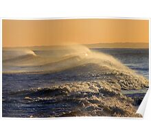 Crashing Waves at Sunset Poster