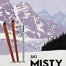 Vintage ski mountain poster by stevethomasart