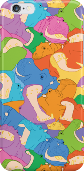 Happy Hippos iPhone Case by jenzanimo