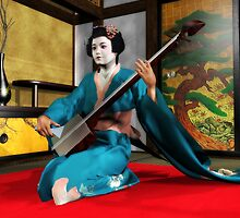 Shamisen Geisha by Axel-Doi