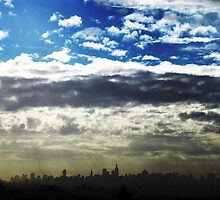 Grey-Blue skies, New York City  by Alberto  DeJesus