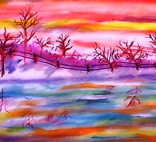 Winter by the fence line and pond, watercolor by Anna  Lewis
