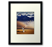 Curious Angels & the crucifixion of Madonna. Framed Print