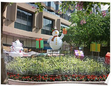 Happy snowman in Hong Kong by Joseph Green