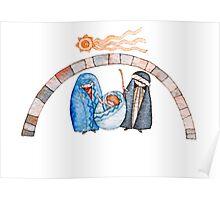 illustration for Christmas whit manger end star comet  Poster