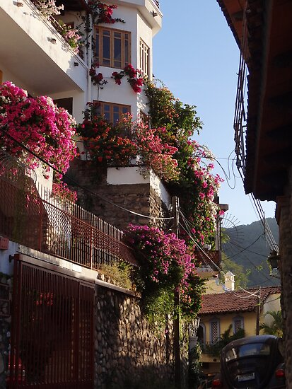 Small streets - houses on the hill - Calles angostas - casas en el cerro by Bernhard Matejka