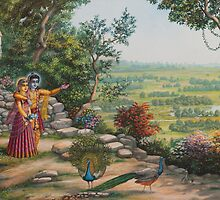 Radha and Krishna on Govardhan hill by Vrindavan Das