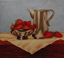 Strawberries and Silver by Anna  Holbert