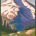 Vintage Mount Jefferson Travel Poster by mitchfrey