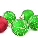 Merry Christmas - baubles - green and red by missmoneypenny