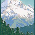 Vintage Mount Hood Travel Poster by mitchfrey