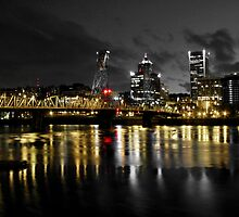Moody Night In Downtown Portland by patrickhvr