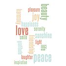 Love & Peace Word Cloud iPhone Case - White by Hilda Rytteke