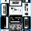 Retro Cassette Tapes in Black &amp; White with extra color by HighDesign
